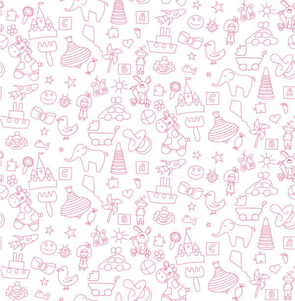 子供のおもちゃのセットをパターン - 赤ちゃん点のイラスト素材/クリップアート素材/マンガ素材/アイコン素材
