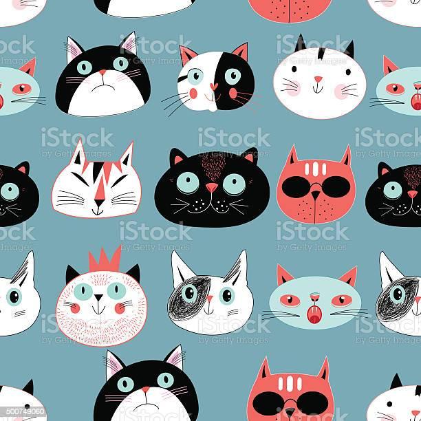 Pattern amusing portraits of cats vector id500749060?b=1&k=6&m=500749060&s=612x612&h=lau35hvcqcylf c1wefnua6lcux8xqgubc1obj5lcji=