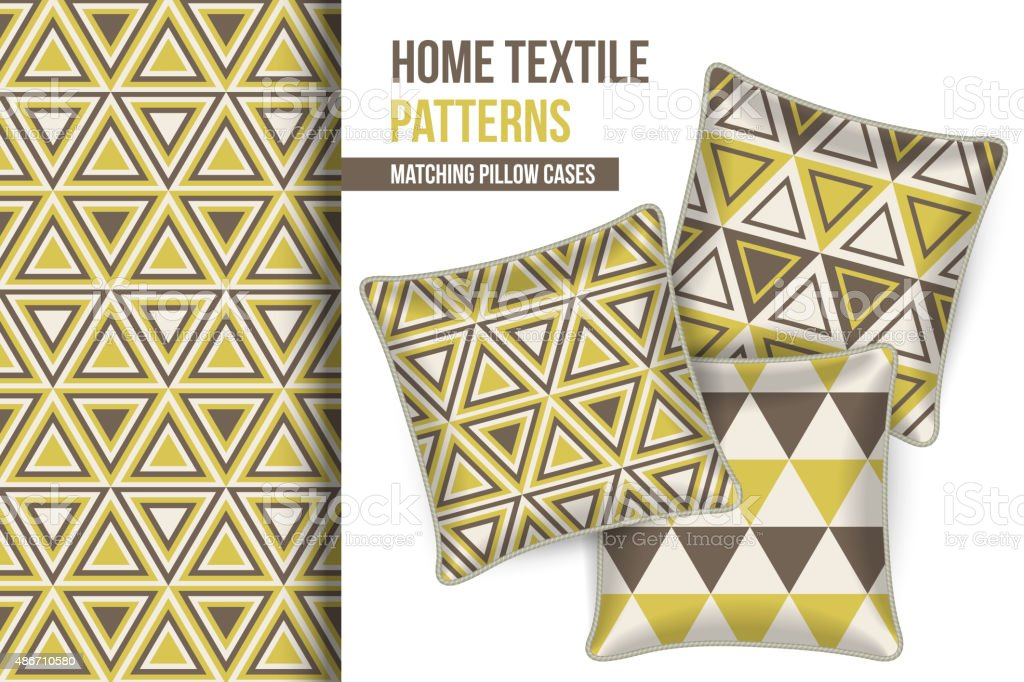 Pattern and set of decorative pillows vector art illustration