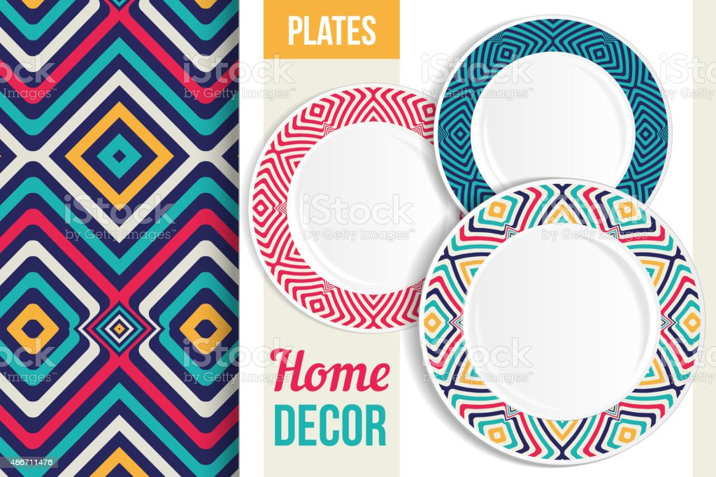 Pattern and set of decorative plates. royalty-free pattern and set of decorative plates  sc 1 st  iStock & Pattern And Set Of Decorative Plates Stock Vector Art u0026 More Images ...