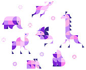 vector illustration of decorative african animals