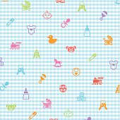 Pattern in babies and many little toys and babies things, make in adobe Illustrator (vector)