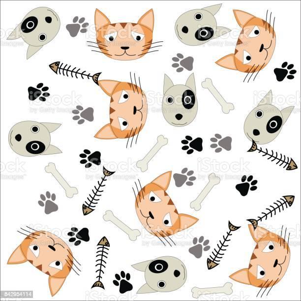 Pattern background of dogcatbonefish bone and footprint on a white vector id842954114?b=1&k=6&m=842954114&s=612x612&h=6r2p 9oyblahtc4ehwyqotkyahzxt 1ywle0mnnima0=
