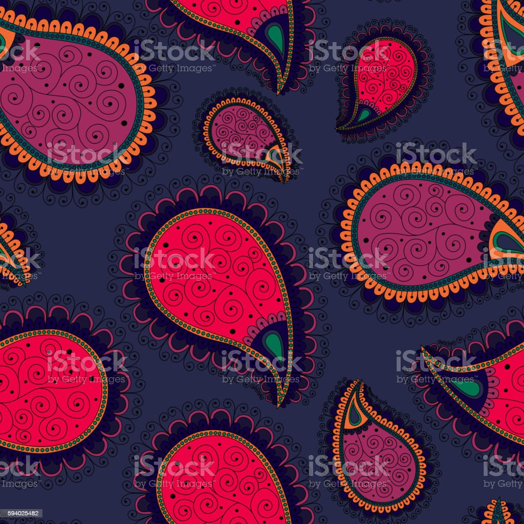 pattern based on traditional Asian elements Paisley vector art illustration