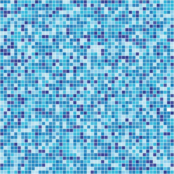 Pattern blue tiles texture Swimming pool blue mosaic background. Textured backdrop bathroom patterns stock illustrations