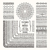 Pattern brushes related to needlework, knitting, tailoring. Hand drawn illustrations clipart collection for flyer, poster, banner, invitation design templates. Isolated on black background.