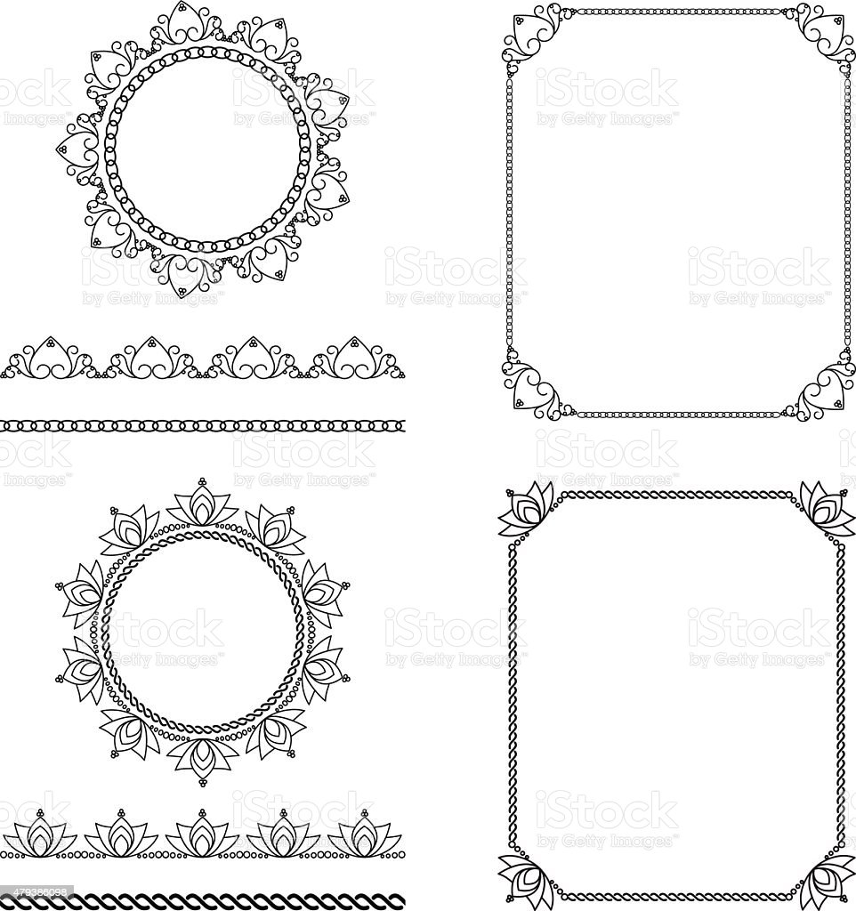 pattern brushes set 2 vector art illustration