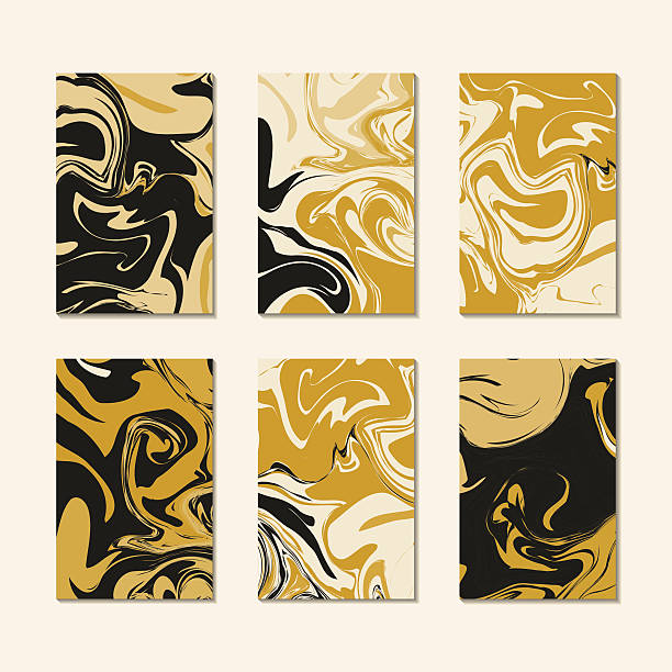 Pattern cards template vector. Gold black luxury marble texture vector art illustration