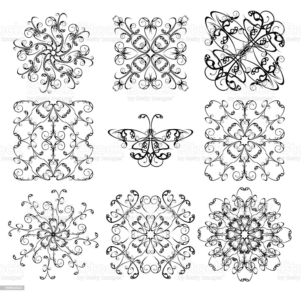 pattern collection for iron barred royalty-free stock vector art