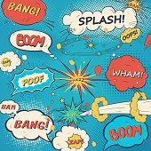 Pattern comic speech bubbles in pop art style