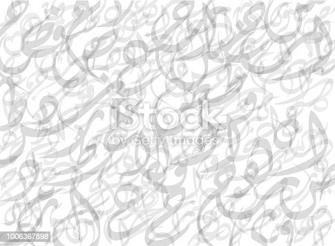 istock Pattern Composed from Arabic Letters Background-Vector Illustration 1006367898