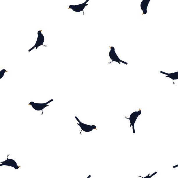 Pattern dark blue birds Blackbird on white vector art illustration