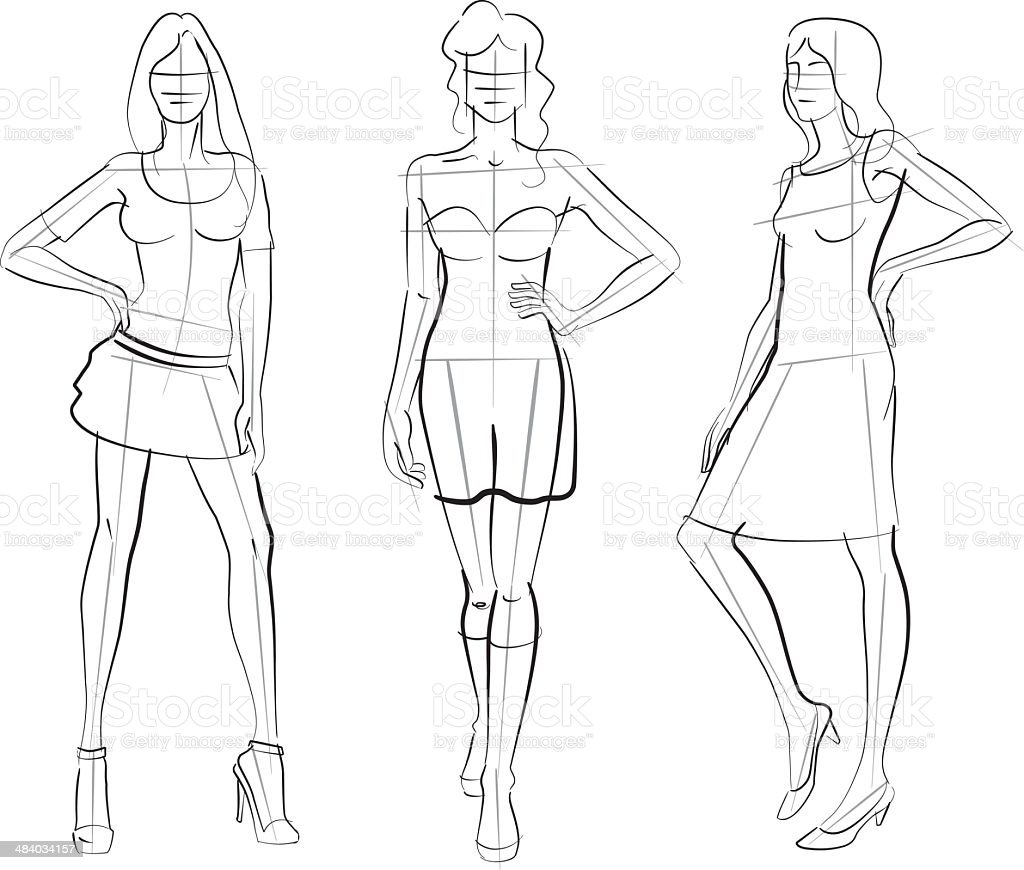 Pattern Fashion Models vector art illustration