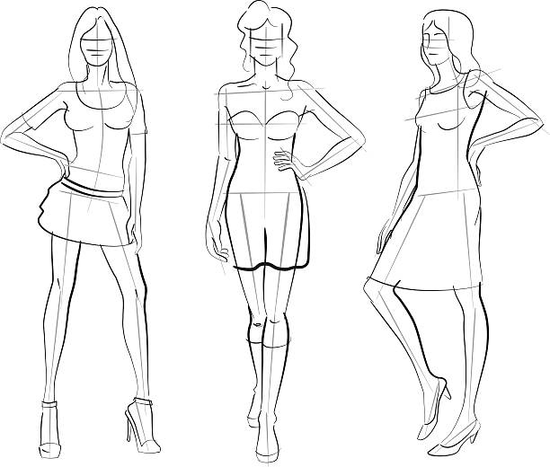 Pattern Fashion Models Elegant fashion girls in hand-drawing and sketchy style. fashion design sketches stock illustrations