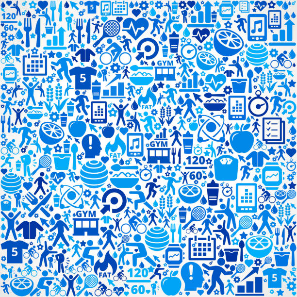 Pattern Fitness and Diet Vector Button Pattern Pattern Fitness and Diet Vector Button Pattern. This 100% vector composition features the shape filed with a variety of fitness and diet icons. The icons form a seamless pattern that completely fills the outline of the shape. The fitness and diet icons are blue on a white background. pattern stock illustrations