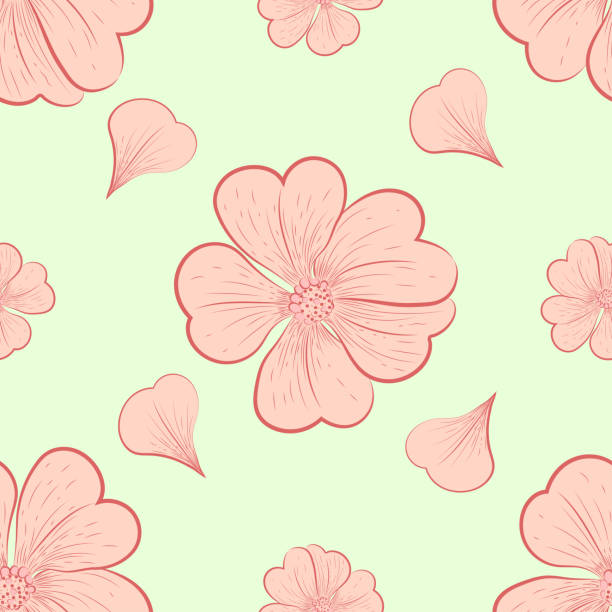 Pattern. Flower motif. Pattern. Flower motif. Vintage pattern of flowers and petals. Vector illustration. peach blossom stock illustrations