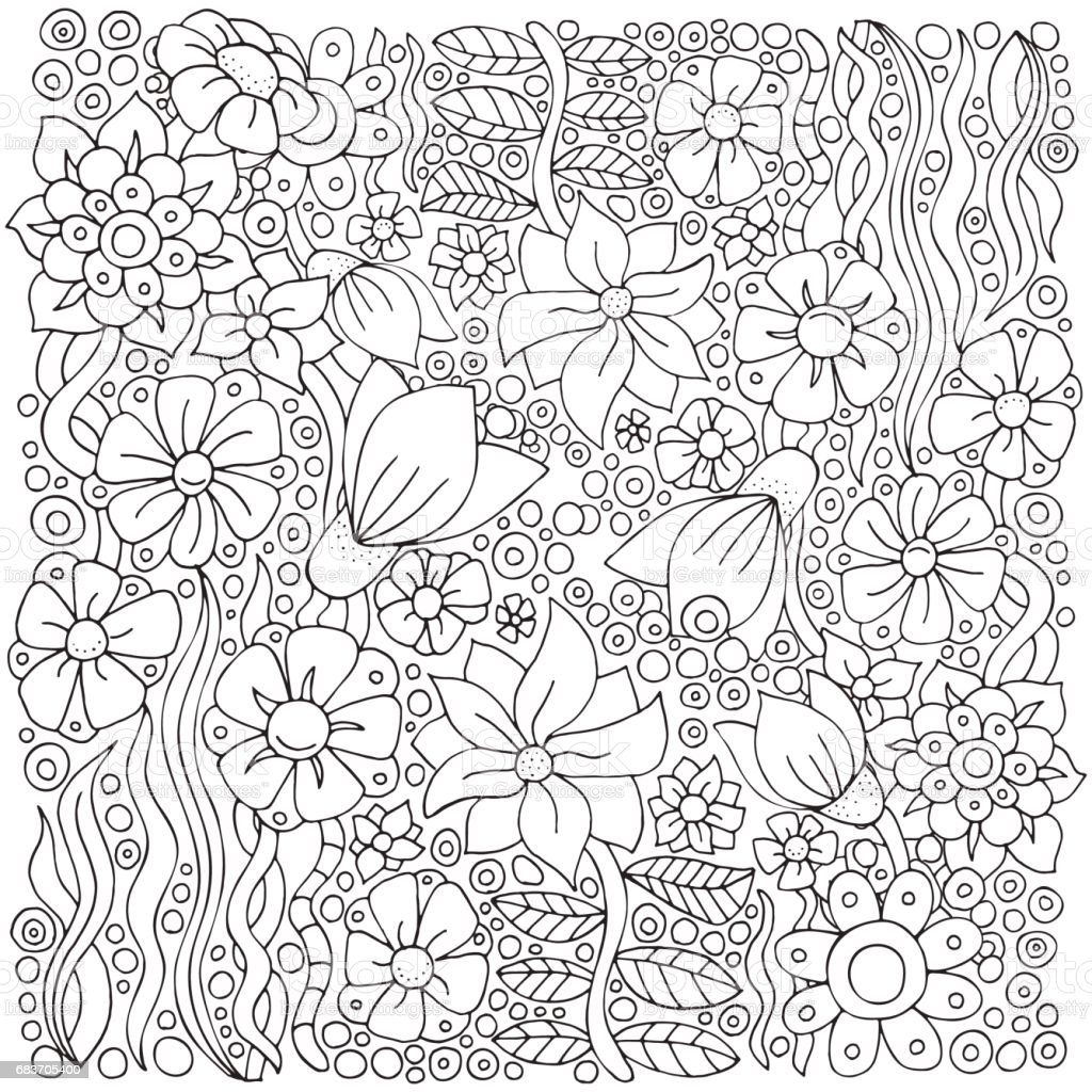 Pattern For Adult Coloring Book Ethnic Floral Retro Doodle Vector ...