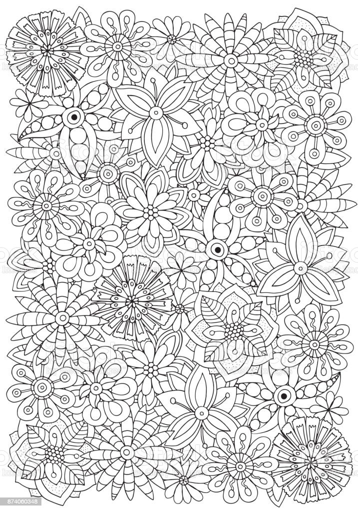 Pattern For Adult Coloring Book Flowers A4 Size Ethnic Floral Retro Doodle  Vector Tribal Design Element Black And White Background Stock Illustration  - Download Image Now - IStock