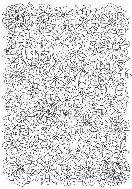 Pattern for adult coloring book. Flowers. A4 size. Ethnic, floral, retro, doodle, vector, tribal design element. Black and white background. Pattern for adult coloring book. Flowers. A4 size. só adultos stock illustrations