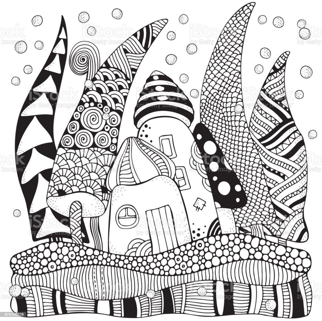 Pattern For Adult Coloring Book With Artistically Houses Xmas Trees And Snow Magic City