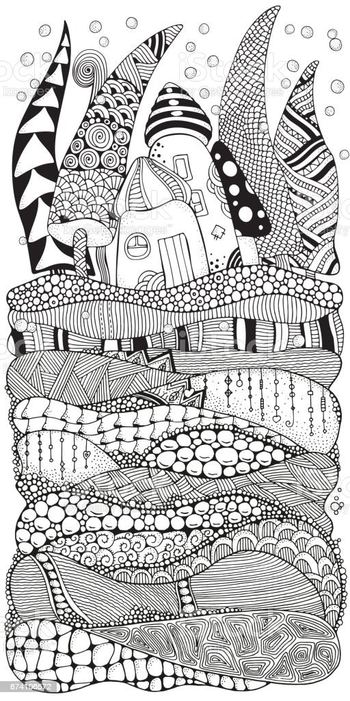 Pattern For Adult Coloring Book With Artistically Houses Xmas Trees ...