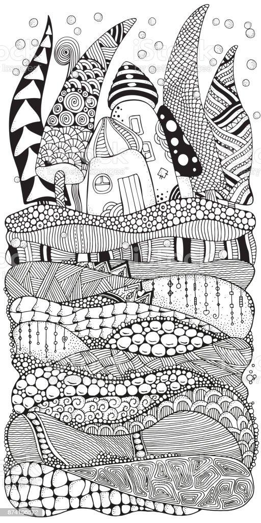 Ilustración de Modelo Para Libro De Colorear Adultos Con Artístico ...