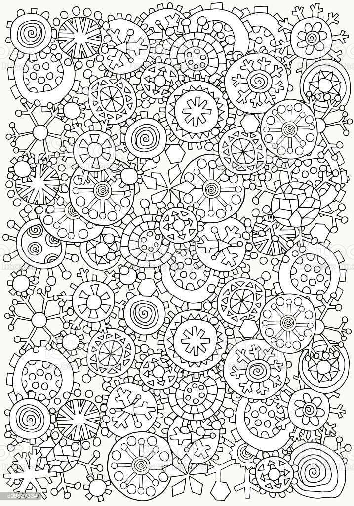 Pattern for coloring book. A4 size. Christmas winter snowflakes. vector art illustration
