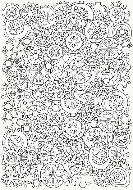 Pattern For Coloring Book A4 Size Christmas Winter Snowflakes Vector Art Illustration