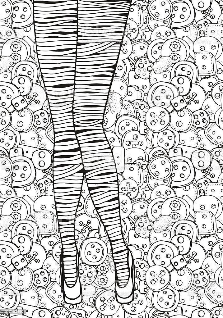 Ilustración de Patrón Para Colorear Libro De Tamaño A4 Piernas Sexy ...