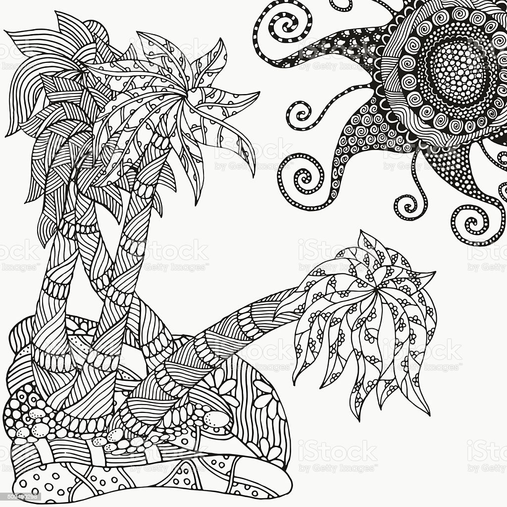 Pattern For Coloring Book Artistic Palm Trees And Sun Stock Vector ...