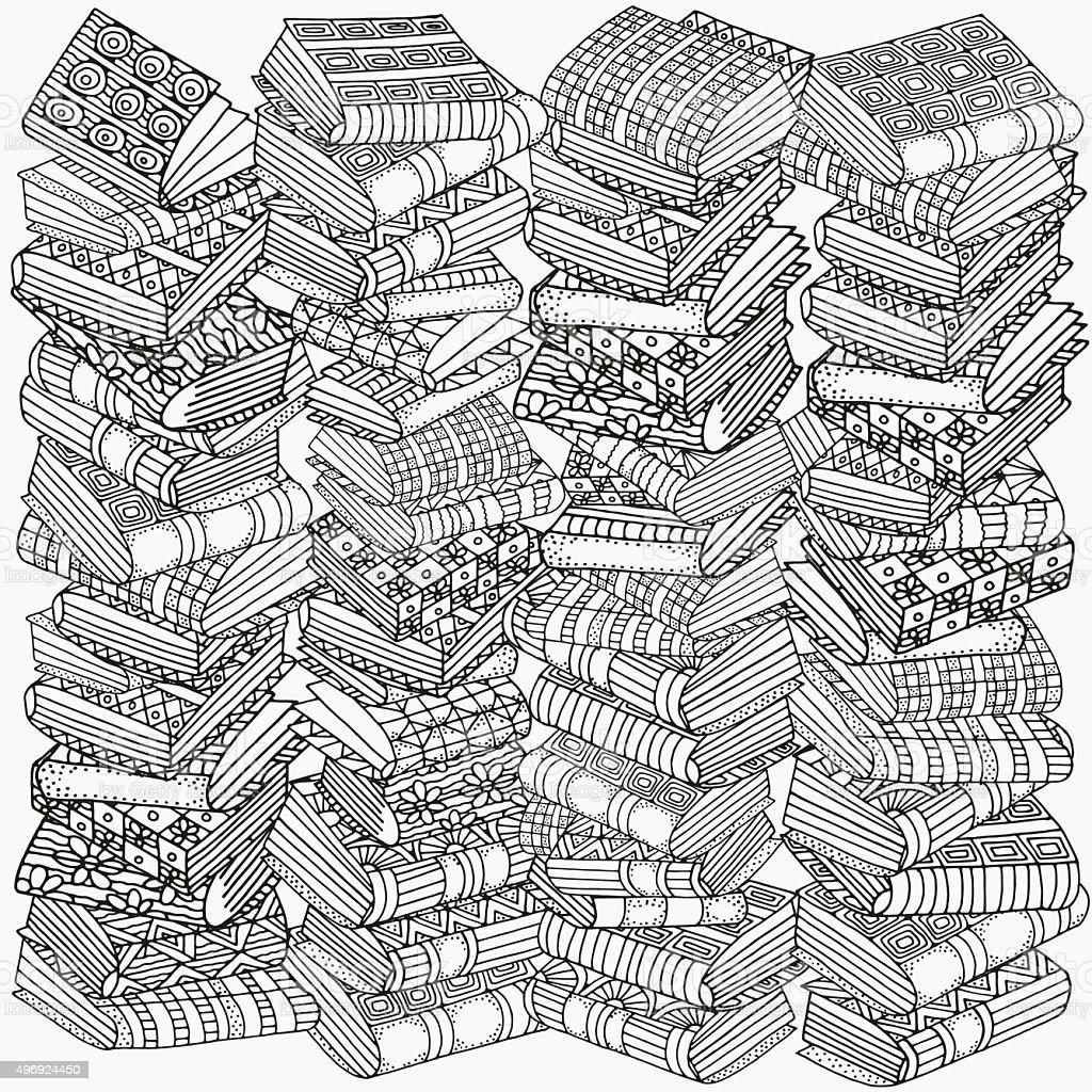 Ilustración de Patrón Para Colorear Libro Libros De Forma Artística ...