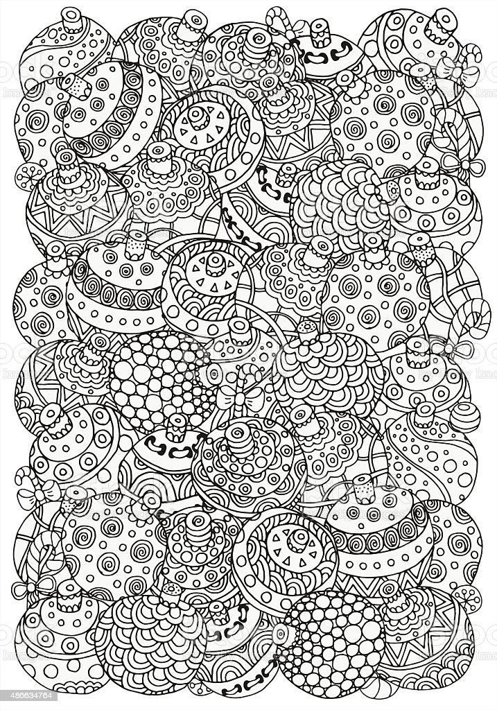 Ilustración de Patrón Para Colorear Libro Bolas De Navidad y más ...
