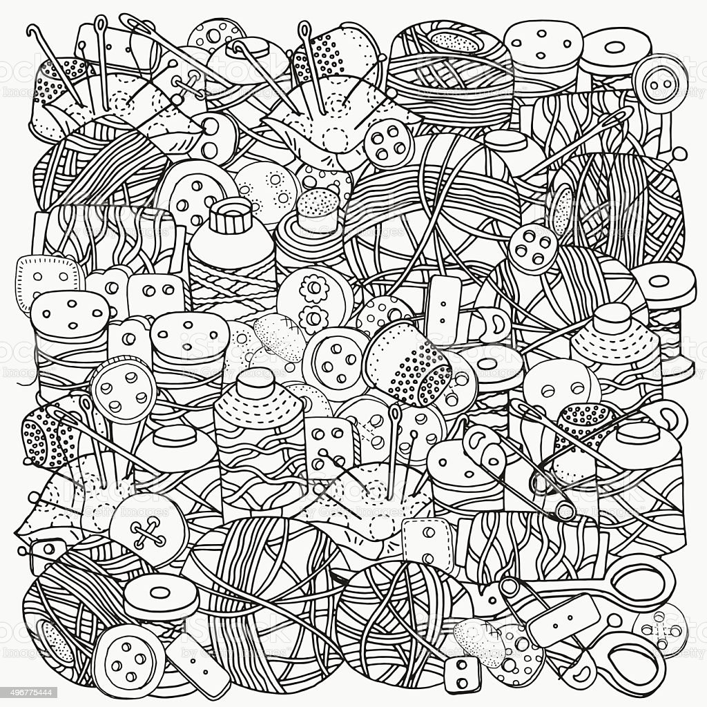 Pattern For Coloring Book Clothes Buttons Needles Thread Stock