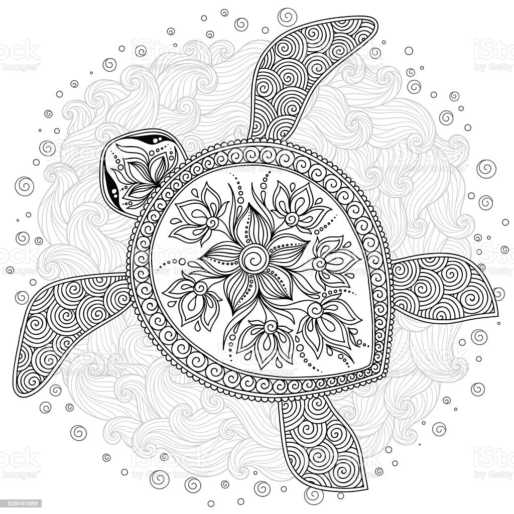 Pattern For Coloring Book Decorative Graphic Turtle Stock Vector Art ...