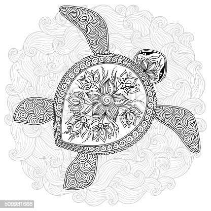 Pattern For Coloring Book Decorative Graphic Turtle Stock