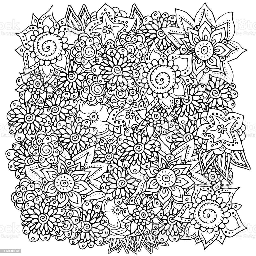 Ilustración de Patrón Para Colorear Libro Diseño Retro étnico y más ...