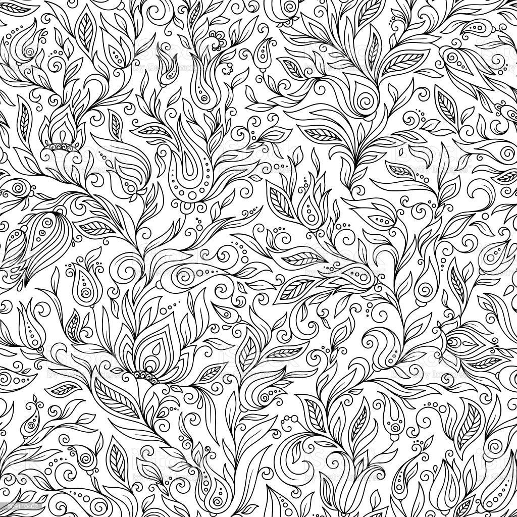Pattern for coloring book. Floral, doodle, vector, design elemen vector art illustration