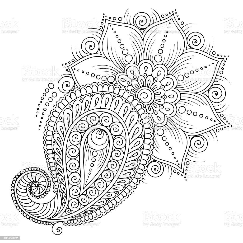 Patrón Para Colorear Libro Elementos Florales En Estilo Indio - Arte ...