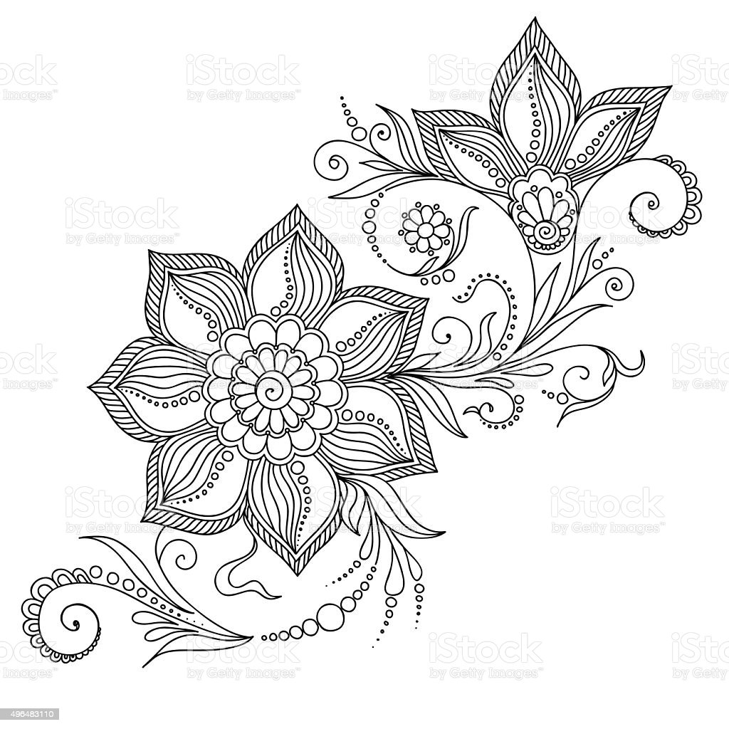 Ilustración de Patrón Para Colorear Libro Elementos Florales En ...