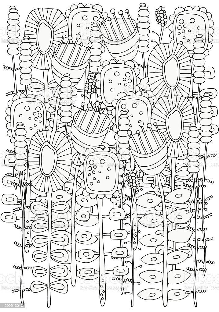Ilustración de Patrón Para Colorear Libro Flores y más banco de ...