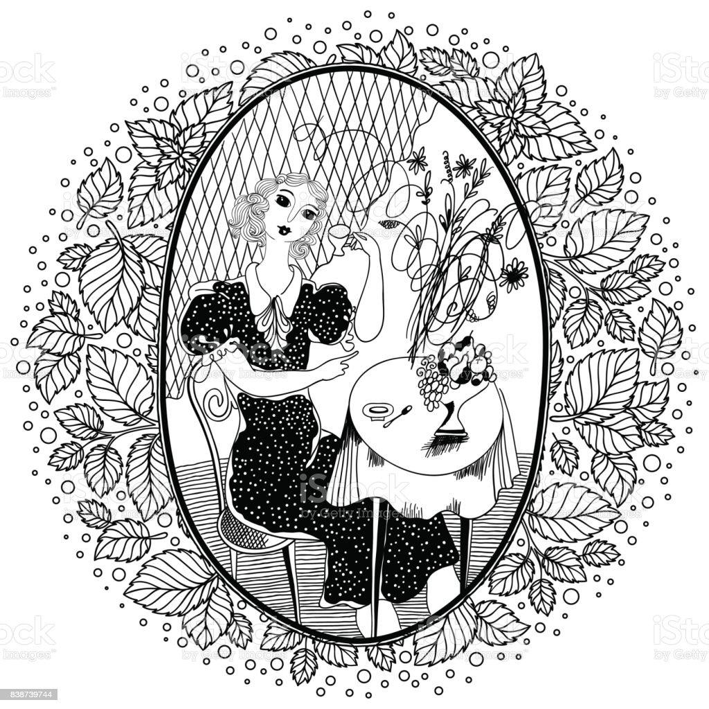 Ilustración De Patrón Para Colorear Libro Para Adultos Vintage Girl Tomando Café En Una Cafetería En El Verano Y Más Vectores Libres De Derechos De