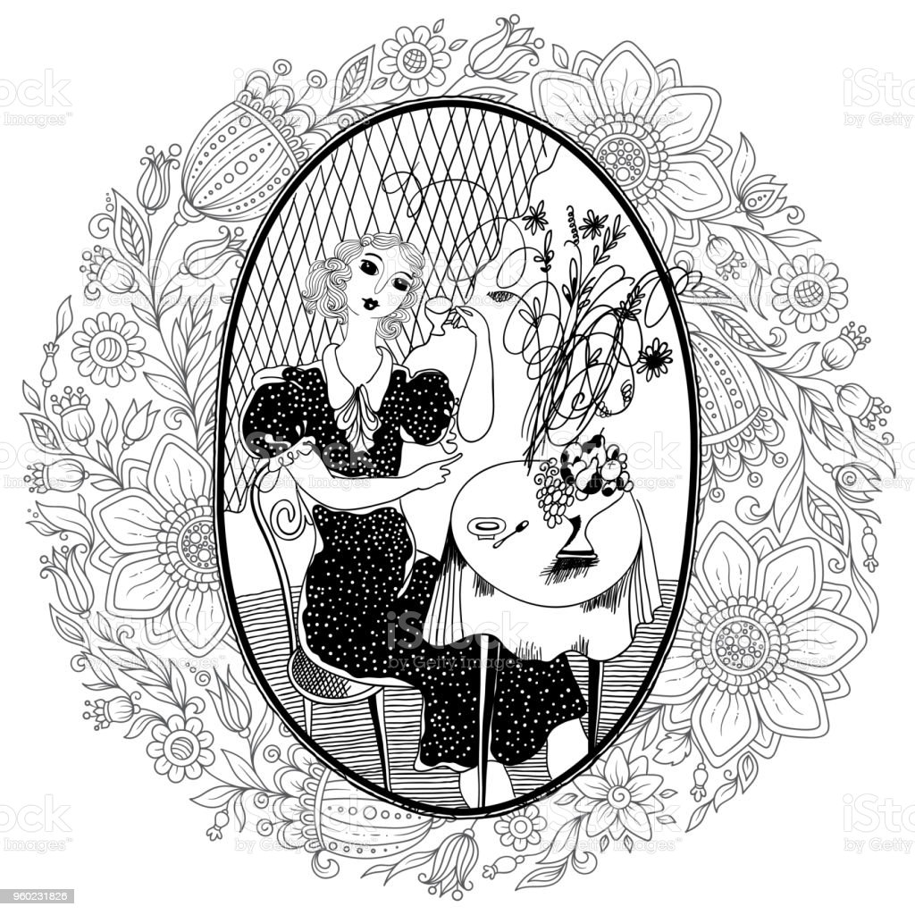 Ilustración de Patrón Para Colorear Libro Para Adultos Vintage Girl ...