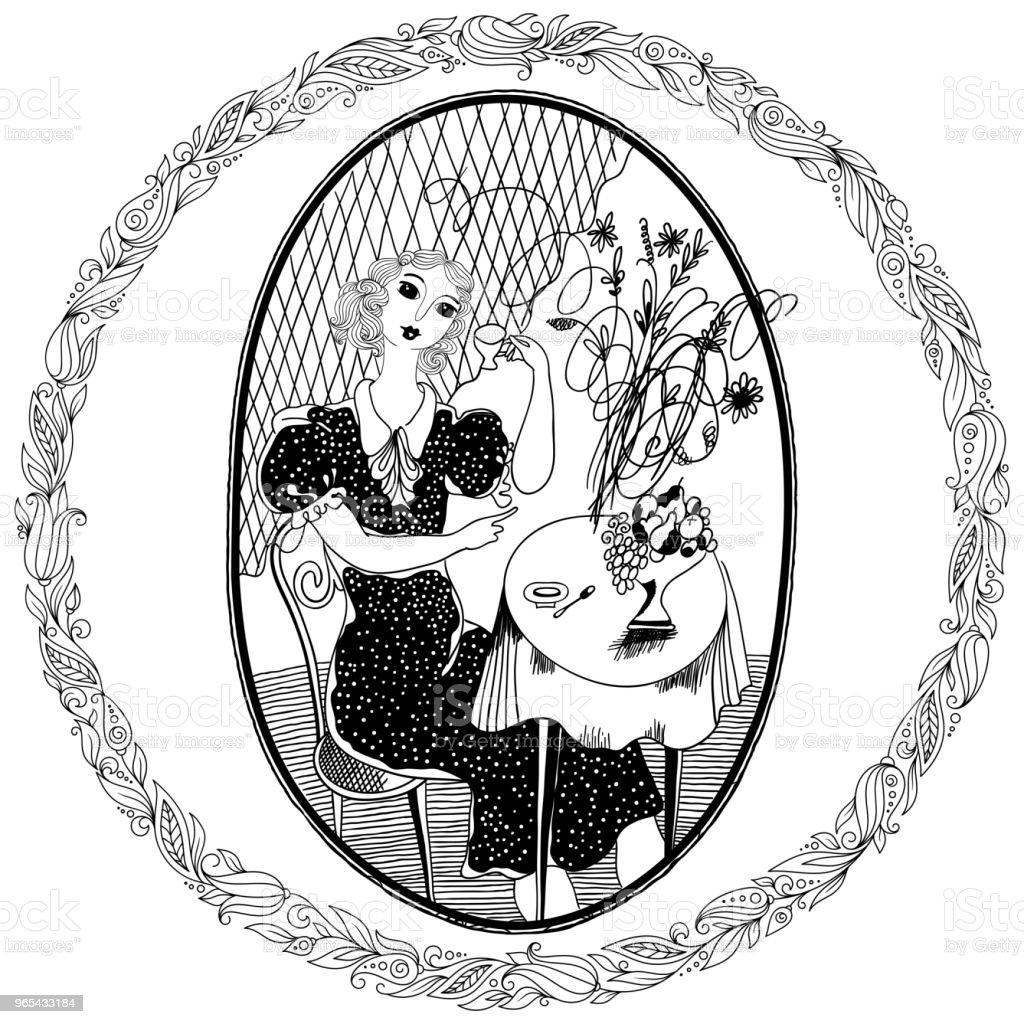 성인에 대 한 색칠에 대 한 패턴입니다. 여름에는 카페에서 커피를 마시는 빈티지 소녀 - 로열티 프리 귀여운 벡터 아트