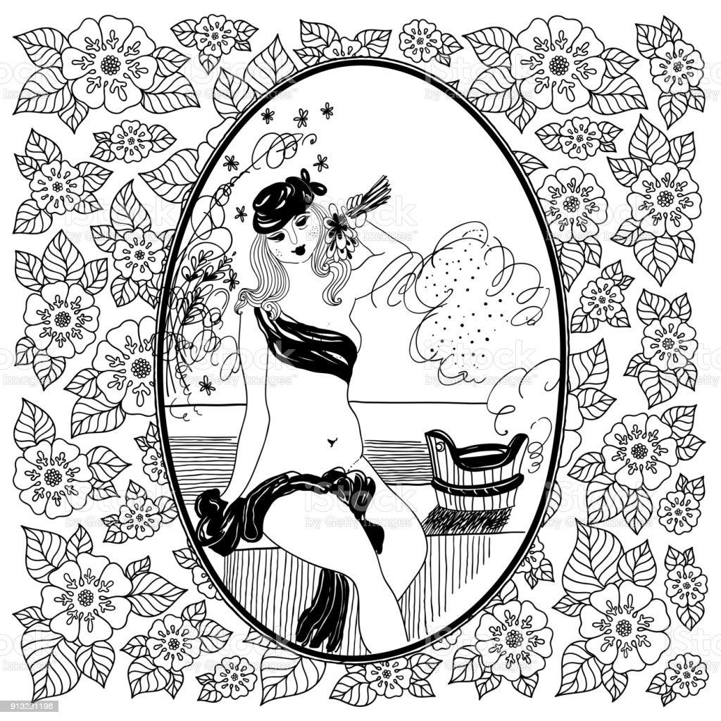 Coloriage Adulte Vintage.Modele Pour Coloriages Pour Adulte Vintage Girl Dans Salle De Bain