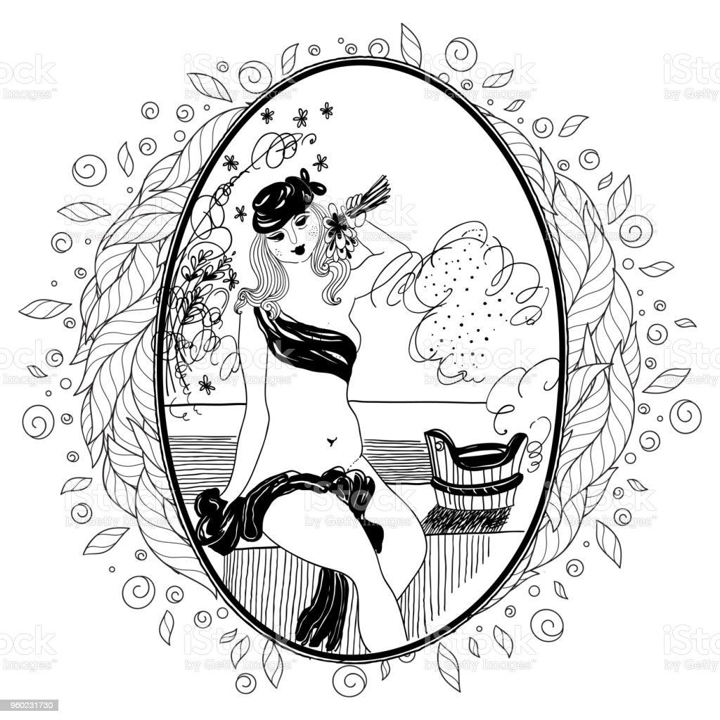 Ilustración de Patrón Para Colorear Libro Para Adultos Niña Vintage ...