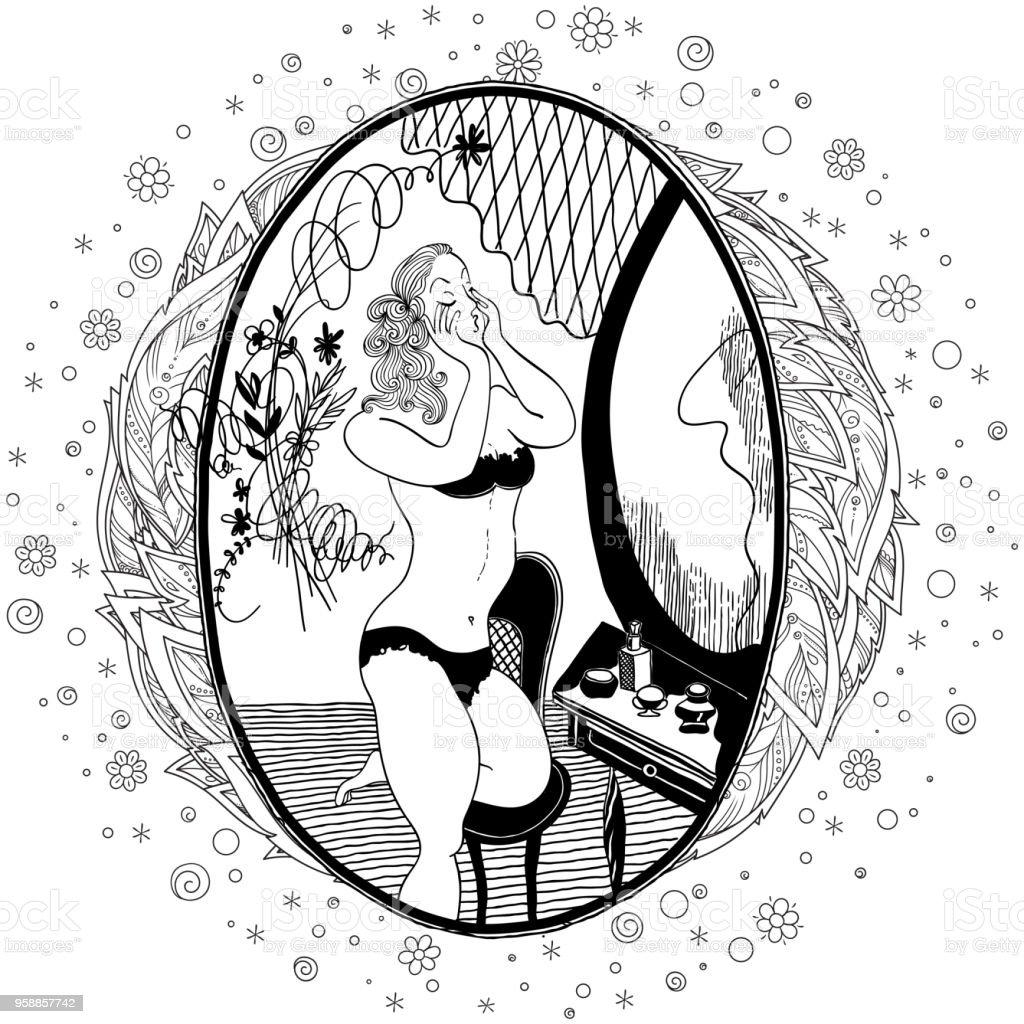 Ilustración de Patrón Para Colorear Libro Para Adultos Chica Vintage ...