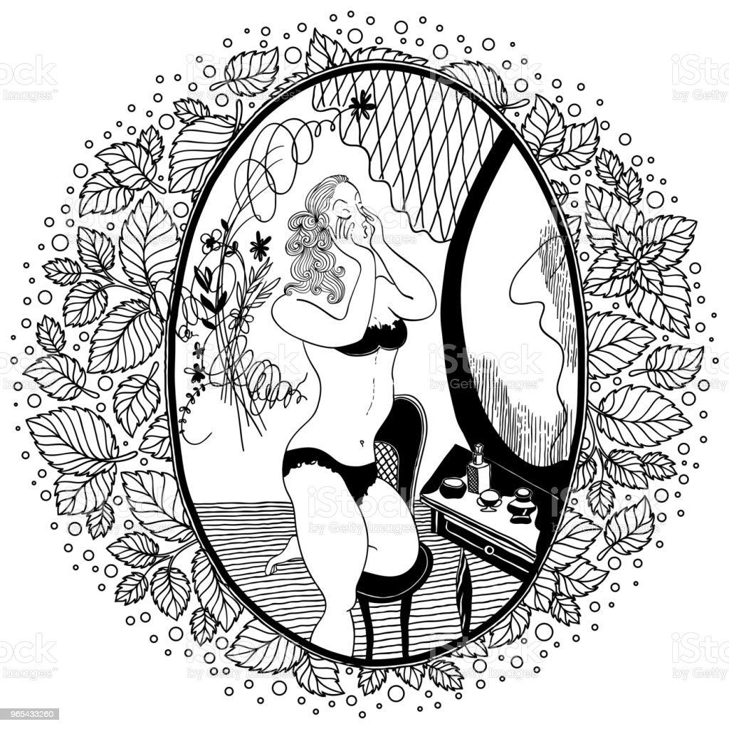 成人著色書的模式。老式的女孩看著鏡子。 - 免版稅1950-1959圖庫向量圖形