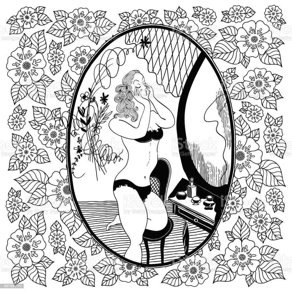 Patrón Para Colorear Libro Para Adultos Chica Vintage Mira En El ...