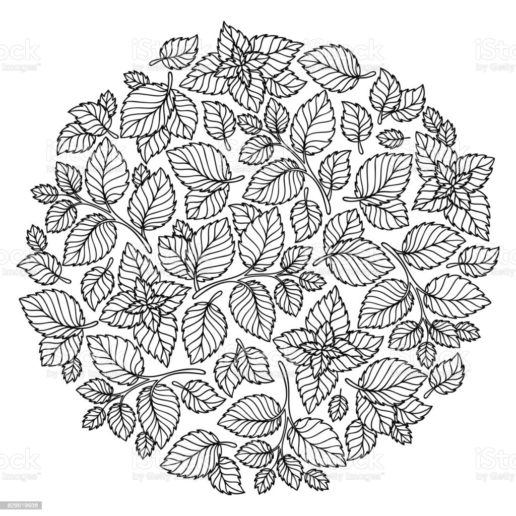 Pattern For Coloring Book Leaves Royalty Free Stock