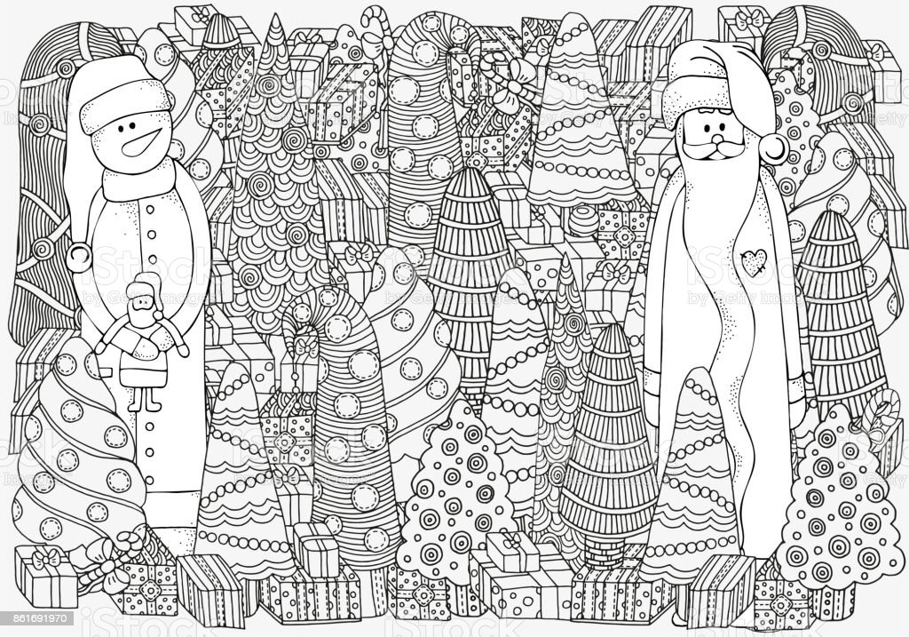 pattern for coloring book of christmas trees gifts santa snowman in vector